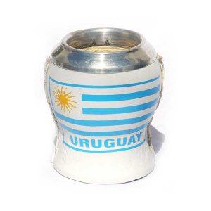 mate copa forrado con escudo de Uruguay y boquilla de aluminio